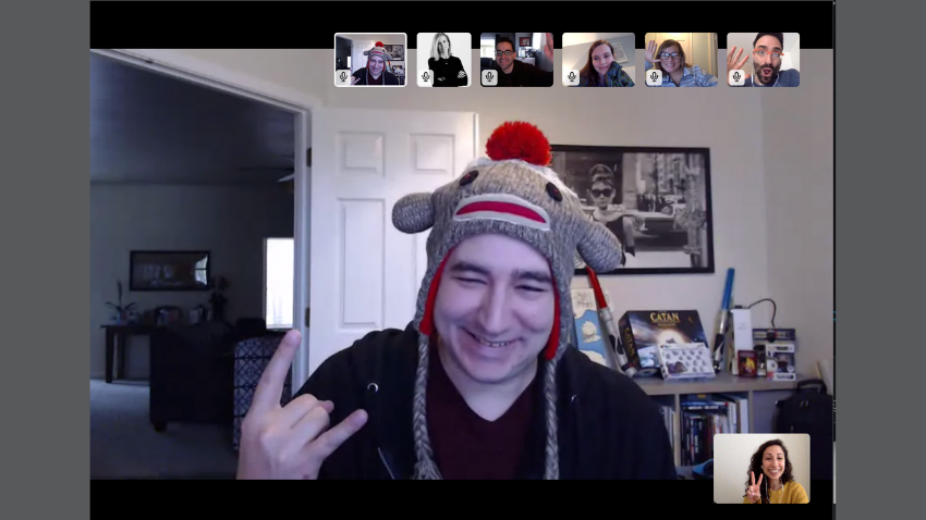 Silly hat day on team video conference call meeting on Slack